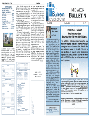 BURLESON BULLETIN OUR RECORDS WEDNESDAY, April 16, 2014 MidWeek Assembly