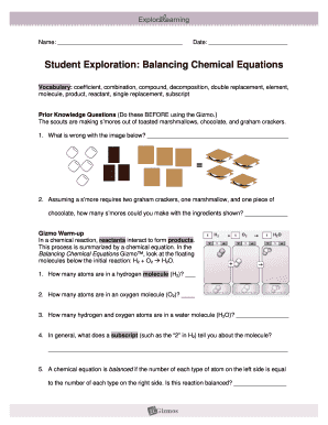Student Exploration Balancing Chemical Equations Fill Online Printable Fillable Blank Pdffiller
