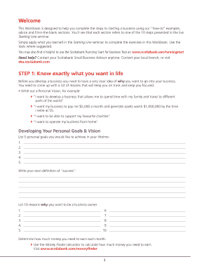 Start up business plan example edit print fill out download starting line workbook scotiabank accmission Image collections