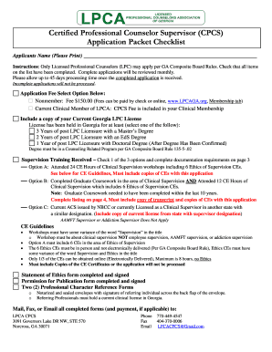 Licensed Professional Counselors Association of GA CPCS Application - lpcaga