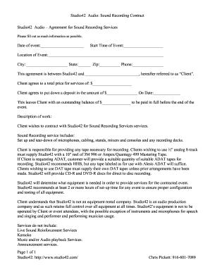 Studio42 Audio Sound Recording Contract Page 1 Of