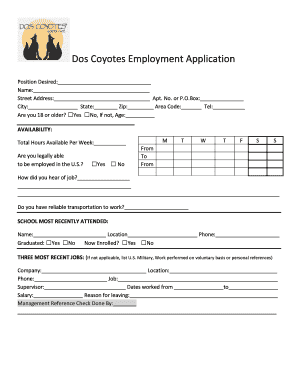 fillable online dos coyotes employment application free job