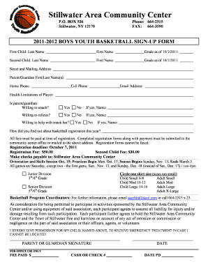 Free basketball registration form template edit fill out 2011 2012 basketball registration form pronofoot35fo Choice Image
