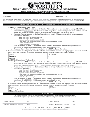 Fillable online msun 20162017 verification worksheet income tax rate this form ibookread ePUb
