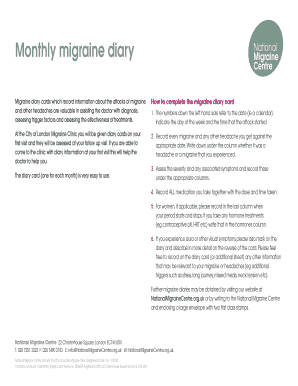 Migraine Diary Cards Which Record Information About The Attacks Of