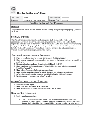 baptist pastor jobs - Fillable & Printable Templates to