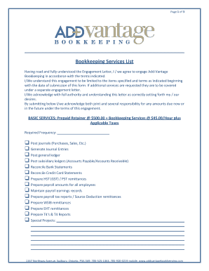 23 Printable sample engagement letter bookkeeping services Forms