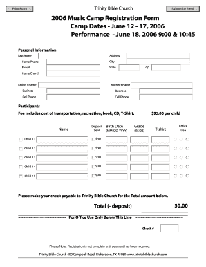 photo regarding Printable Church Nursery Forms named Printable church camp registration kind template - Edit
