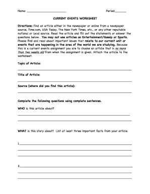 Simple Current Event Worksheet With Icons of Depth ...  Current Events Worksheet Pdf
