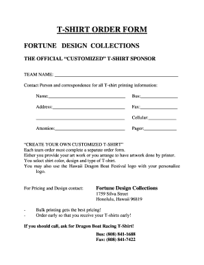 T-SHIRT ORDER FORM - Hawaii Dragon Boat Festival