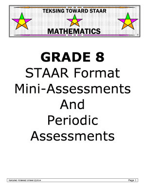 teksing toward staar Fillable Online Grade 8 Mini-assessments and Periodic Assessments ...