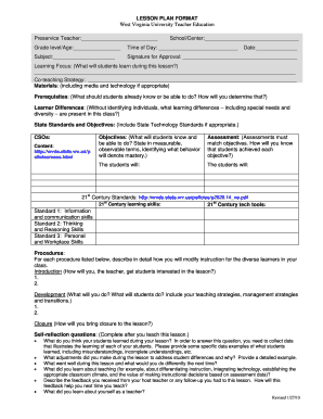 Weekly Lesson Plan Template Forms Fillable Printable Samples For - University lesson plan template