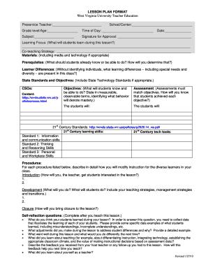 Fillable online facultyportal cehs wvu lesson plan format west fill online saigontimesfo