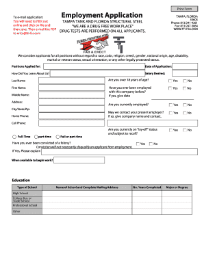 Employment Application - TAMPA TANK INC