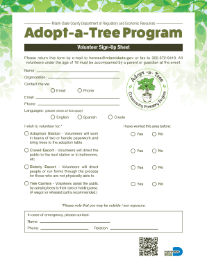 volunteer signup sheet