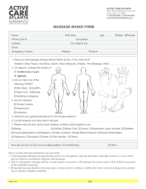 free massage intake forms - Fillable & Printable Templates to