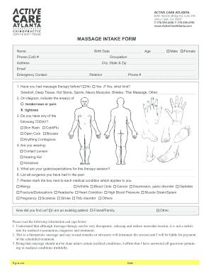 free massage intake forms - Fillable & Printable Templates