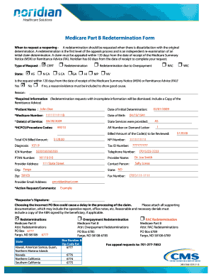 Fillable Online Medicare Part B Redetermination Form Fax Email ...