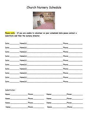 Fillable Online Church Nursery Schedule