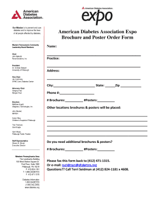 American Diabetes Association Expo Brochure and Poster Order Form