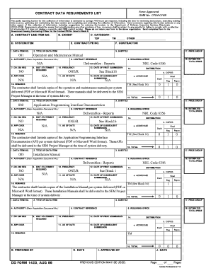 Fillable Online DD Form 1423, Contract Data Requirements List (4 ...
