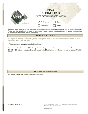 Fillable Online Ohio Medicaid EDI Form for Professional ERAs Fax ...