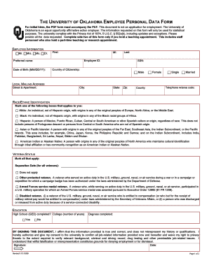 The university of oklahoma employee personal data form - hr ou
