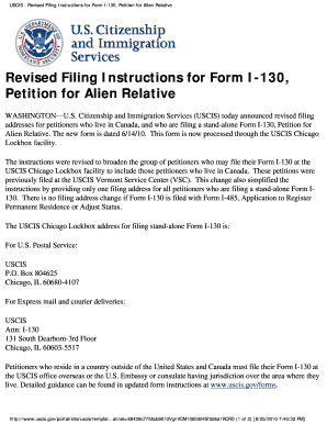 Revised Filing Instructions for Form I-130, Petition for Alien Relative