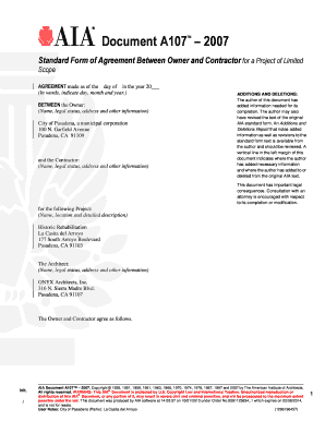 Fillable Online A OwnerContractor Agreement AIA Contract - Aia contract template