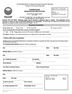 Pawnbroking Registration Application Fill Online, Printable