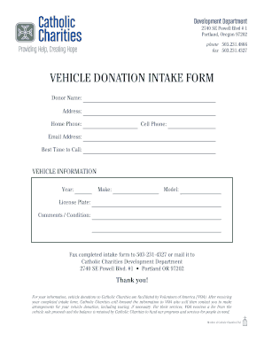 Vehicle Donation Intake Form Catholic Charities Catholiccharitiesoregon