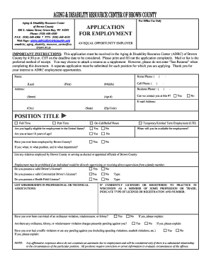 fillable online co brown wi adrc employment application print