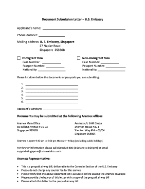 Fillable Online Document Submission Letter U Apply For A Visa Global Home Fax Email Print Pdffiller