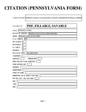 Pennsylvania Citation Form - Fill Online, Printable, Fillable ...