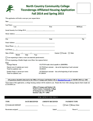 Fillable Online nccc Housing Application Form - North Country ...