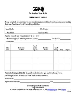 Geha Claim Form - Fill Online, Printable, Fillable, Blank | PDFfiller
