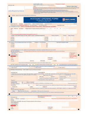 hdfc bank account opening documents required for minor