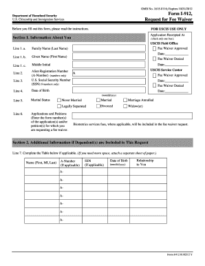 192 Form, Request For Fee Waiver