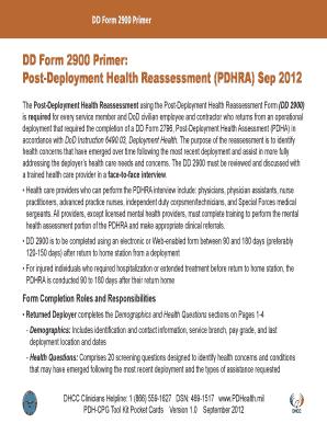 Fillable Online pdhealth DD Form 2900 Primer - Deployment Health ...