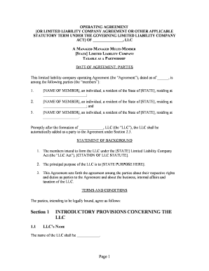17 Printable Llc Operating Agreement Pdf Forms And Templates