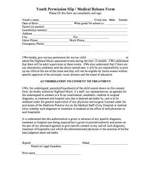 Youth Permission Slip / Medical Release Form - Comcast.net