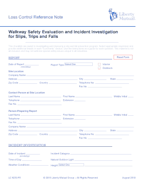 Slip And Fall Incident Report Example