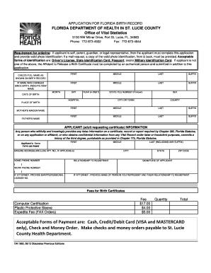 florida birth certificate request form