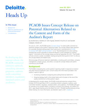 Heads Up. PCAOB Issues Concept Release on Potential Alternatives Related to the Content and Form of the Auditor s Report