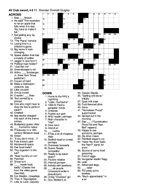Fillable Online ACROSS DOWN - Crossword Puzzles by Brendan Emmett Quigley Fax Email Print ...
