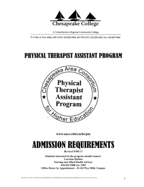 PTA Info packet and application for Fall 2014 - Chesapeake College - chesapeake