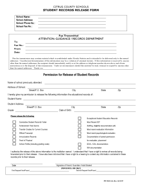 Fillable Online Student Records Release Form - Citrus County ...
