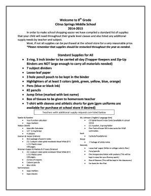 8th Grade Supply List Citrus Springs Middle - Fill Online, Printable