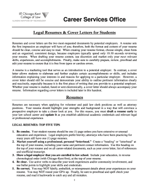 Student Cover Letter and Resume Guide - Chicago-Kent College of ... - kentlaw iit
