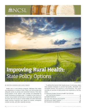 improving quality of rural health 2 rural public health systems: challenges and opportunities for improving population health historically, rural communities face many challenges that trans.